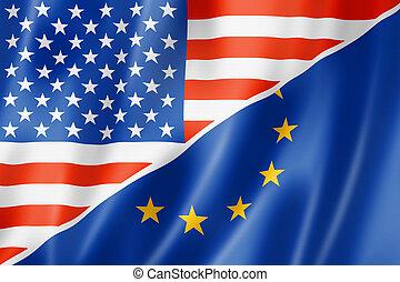 USA and Europe flag - Mixed USA and Europe flag, three...