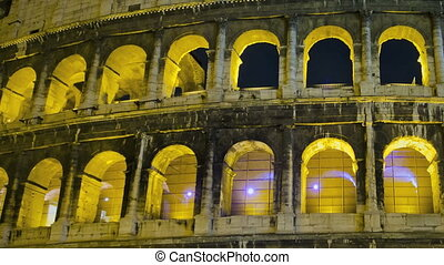 Colosseum at night - Timelapse of the Colosseum in Rome at...
