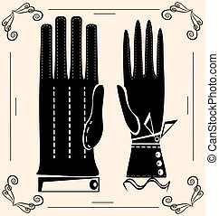 vintage gloves - on light background are outlines woman's...