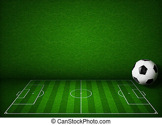 Soccer or football field or pitch side view with ball