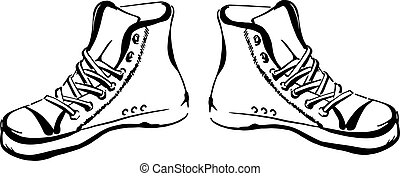 Hand drawn sneakers (gumshoes) isolated on white background