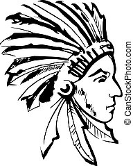 Indian chief black and white - Native American Indian chief...