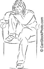 Young woman - Sketch of sitting young woman