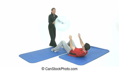 Sport exercise with a transparent rubber ball