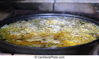 Pot of boil oily pilaf - Pot of boil oily tasty pilaf