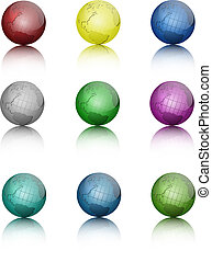 Set of colored globe icons.