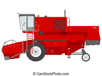 Combine harvester - Retro combine harvester on a white...