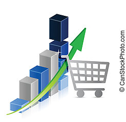 shopping cart graph business illustration design