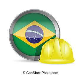 Brazilian flag and construction helmet illustration design...