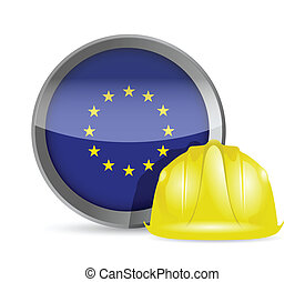 european flag and construction helmet illustration design...