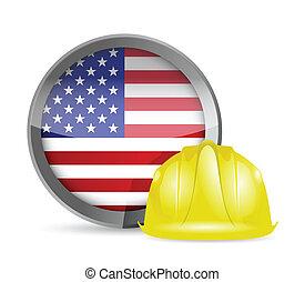 norteamericano, bandera, construcción, casco