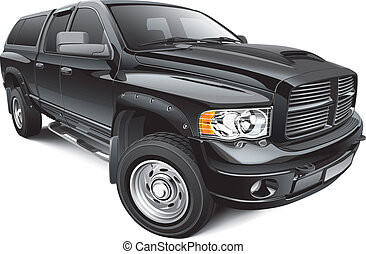black large pickup - Detail vector image of black large...