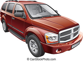 American full-size SUV - Detail vector image of American...