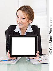 Businesswoman Presenting Digital Tablet