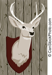 Mounted Deer Head - This is a vector graphic of a mounted...