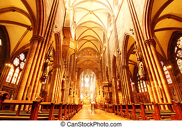Interior of the Freiburg Muenster in Freiburg im Breisgau,...