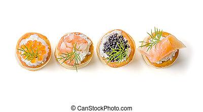 Pasteles, Salmón, caviar, camarón