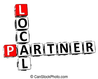 3D Local Partner Crossword on white background