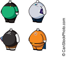 Geeks with Little Heads - Four vector icons of fat geeks...