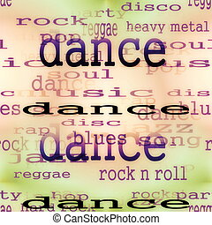 concept dance music word background, texture