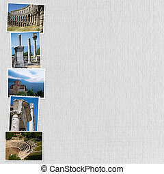 white paper holiday background with Mediterranean pictures...