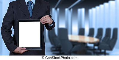 businessman success working with blank tablet computer his...