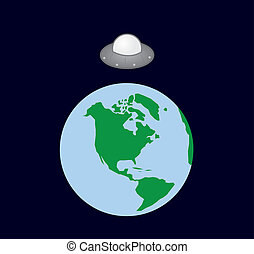 Earth Spaceship  - UFO spaceship hovering over earth
