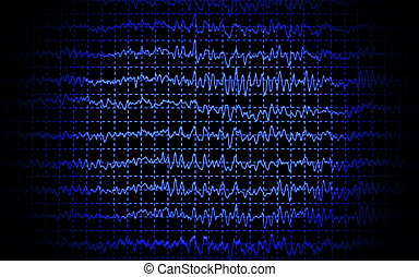 brain wave eeg isolated on black background