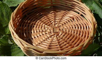 nut drop wicker wood dish