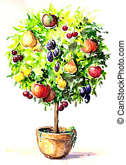 Tree - Hand-painted colorful tree with different fruits in...