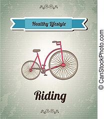Riding - Bike over vintage background vector illustration...