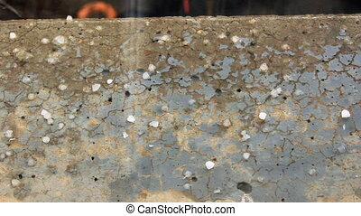 Hail fall on cement ground