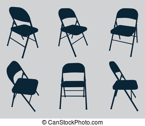 Chairs - Six vector silhouettes of fold out chairs