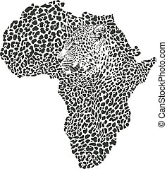 Leopard skin and head in silhouette - vector illustration of...