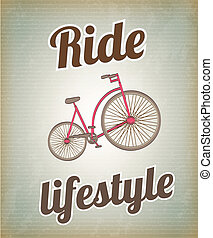 Ride lifestyle - Bike over vintage background vector...