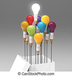 drawing idea pencil and light bulb concept outside the box...