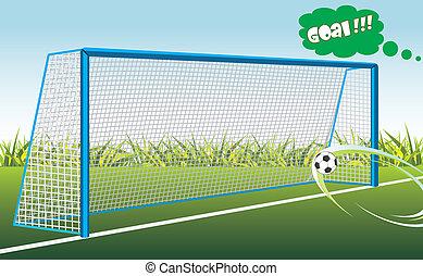 Football goal. Banner for design. Vector illustration