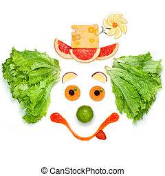 The friendly food the friendly mood. - A friendly clown made...