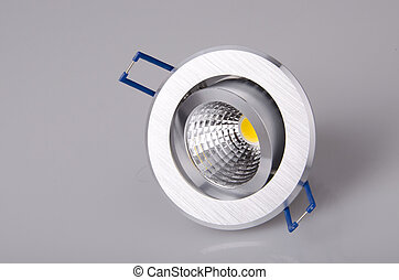 LED lamp - metall lamp on gray background