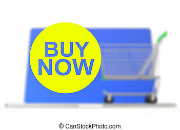 On line shopping concept on white background