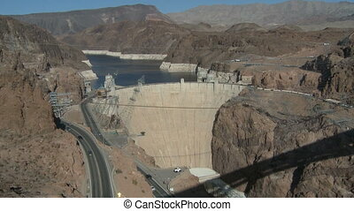Hoover Dam - Mid-aerial view of the Hoover Dam, Colorado...