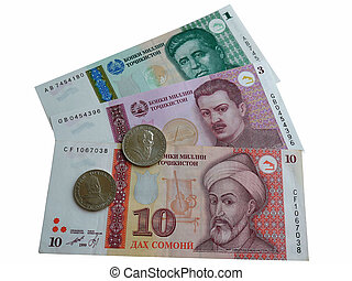 Banknotes and coins in Tajikistan - Photo of coins and...