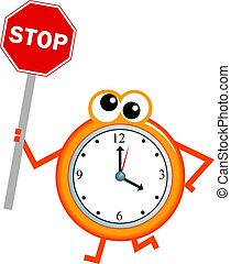 stop time - Mr time holding a stop sign isolated on white.
