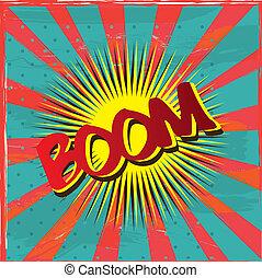 Boom label - boom label over vintage background vector...