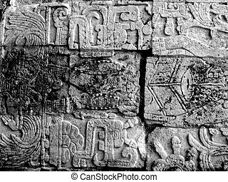 Chichen Itza Mayan Glyphs - Mayan glyphs on the walls at...