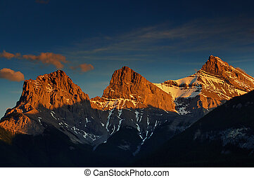 Sunset on Three Sisters Mountains - Canmore, AB, Canada