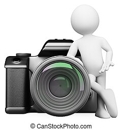3D white people Digital camera DSLR - 3d white person...
