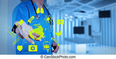 Medicine doctor working with modern computer interface as...