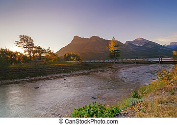 Sunrise over Waterton Lakes - Waterton Lakes National Park,...