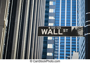 Sign for Wall Street, New York - Sign for Wall Street in New...